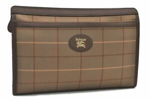 Authentic Burberrys Check Clutch Bag Canvas Leather Brown B3343