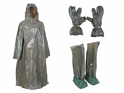 NEW Army Surplus Genuine rain cover poncho ex army with waders and gloves OLIVE