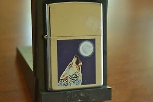 ZIPPO Lighter, 250 - Timberwolf & Moon XVI/2001, Hi-Polish Chrome, Sealed, M935