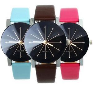 1 Pair Fashion Analog Black Dial Casual Faux Leather Strap Quartz Wrist Watches