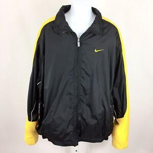 2b47c2d86c0f Nike Mens Vintage Jacket Full Zip Lined Size XL Black Yellow Flaw