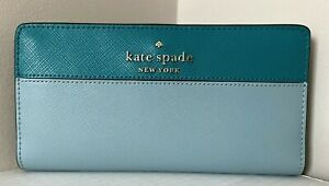 New Kate Spade New York Staci Large Slim Bifold wallet Frost Spearmint