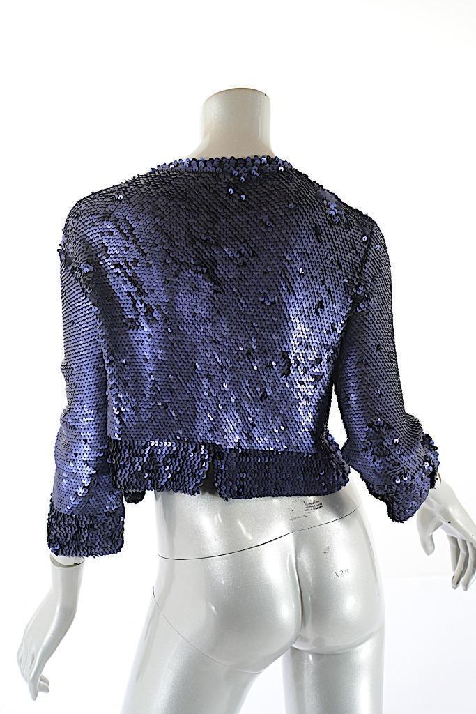 JANE JANE JANE WHEELER Sapphire100% Cashmere Hand Knit SEQUIN Shrug Cardigan Sweater  Sz L ee15c5