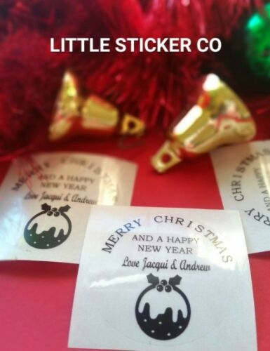 Christmas Stickers Personalised customised with your names clear circle x 50