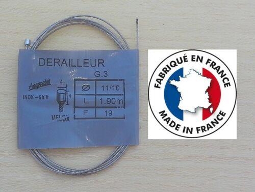 Cable de dérailleur VELOX en inox 1,90 m 11//10 vélo vintage fabriqué en France
