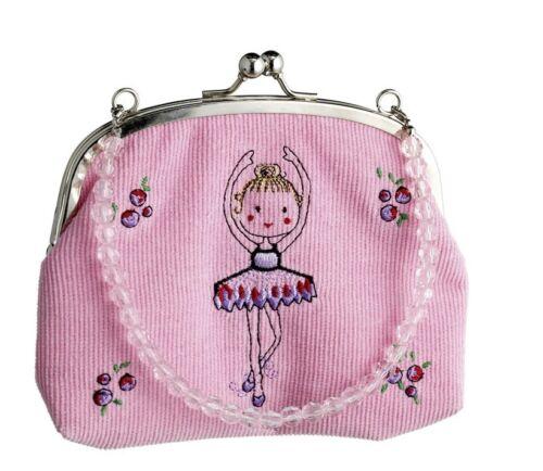 Pink Corduroy Ballet Beaded Handbag Christmas Stocking Gift By Katz HB-7584