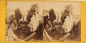 Italia Syracuse, Latomies Dei Papà Capucins, Foto Stereo Vintage Albumina