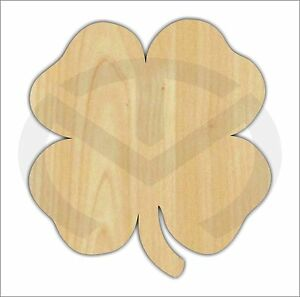 Image Is Loading Unfinished Wood Lucky 4 Leaf Clover Laser Cutout