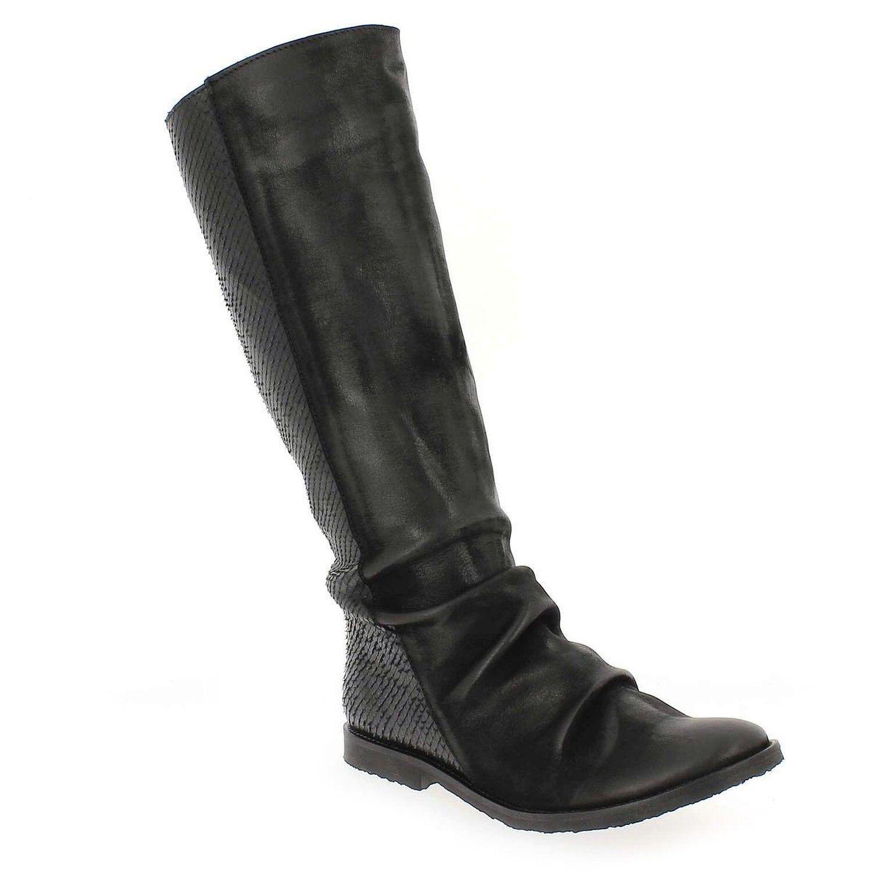 Felmini chaussures femme Smallux snake print waxed hautes en cuir bottes noir