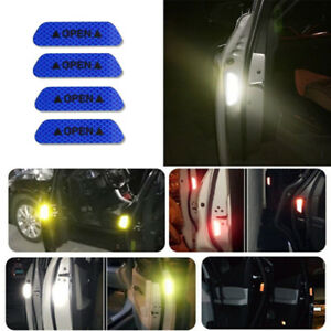 Details About 4pcs Super Blue Car Door Open Sticker Reflective Tape Safety Warning Decal