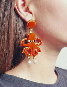 Women-Acrylic-Resin-Lobster-octopus-Earrings-Boho-Dangle-Drop-Stud-Earring