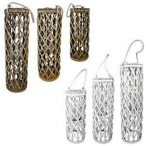 XL-Laterne-Rattan-Weide-Glas-Windlicht-H-40-60cm-Bodenlaterne-weiss-braun-Natur