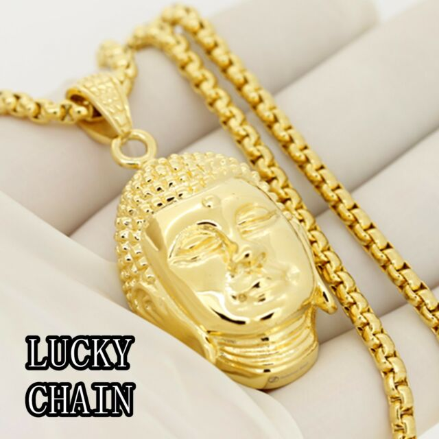 "STAINLESS STEEL GOLD BUDDHA HEAD PENDANT 30""ROUND BOX CHAIN/54g/PC58"