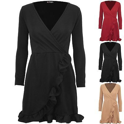 Ladies Womens V Plunge Wrap Over Stretchy Slinky Ruffle Frill Bodycon Mini Dress
