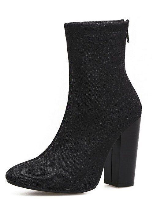 Bottes chaussures jeans en bleu 10 cm cheville hauts talons confortable 9469