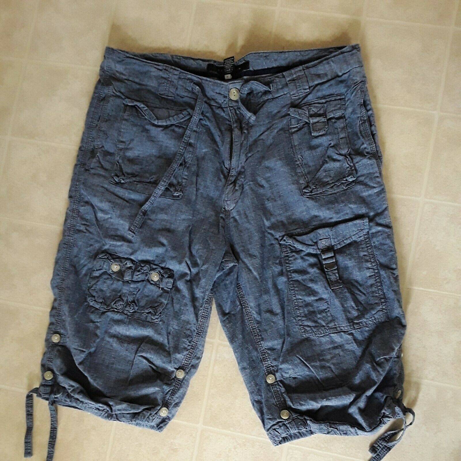 Sean John Holgado Cargo De Hombre Talla 36 Largo Hip Hop Chambry Pantalones Cortos Azul