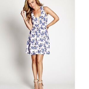 Details About Guess New Womens Fleur Allover Floral Bird Print Sleeveless Woven Dress
