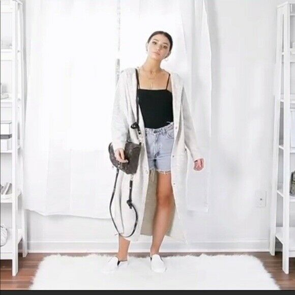 Zara  Knit Colección Suéter Cárdigan Botones Largo con Capucha  Envio gratis en todas las ordenes