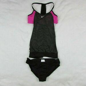 Nike-Women-039-s-Layered-Sport-Tankini-Swimsuit-Black-amp-Pink-NESS9378-006-Small