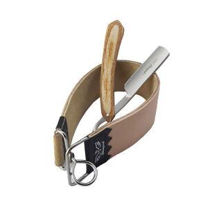 Set-of-Leather-Strop-Belt-amp-barber-Straight-Edge-Cut-Throat-Shaving-Razor-Blade
