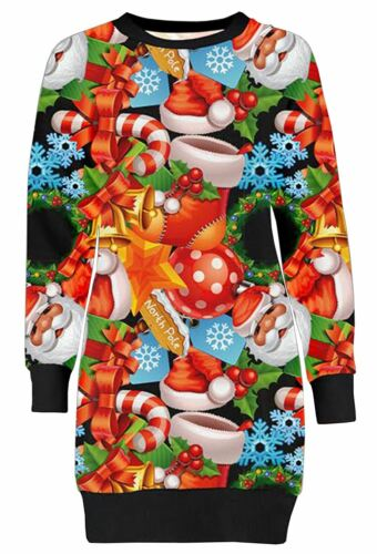 New Ladies Santa North Pole Christmas All Over Print Mini Jumper Dress 8-22