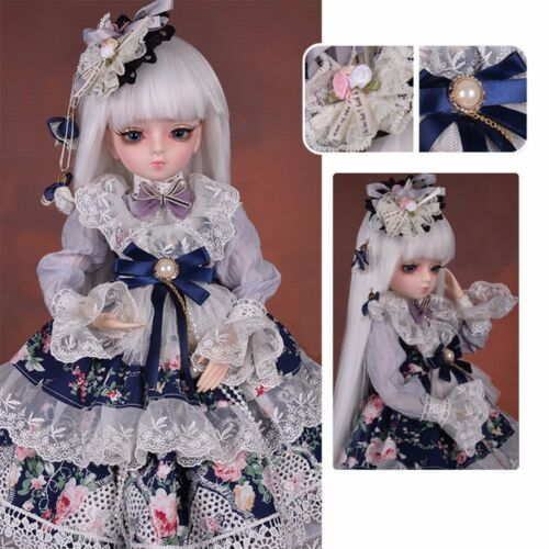 1//4 BJD Doll 45cm Girls Female Body Doll Gift Clothes Shoes Wig Eyes Face Makeup