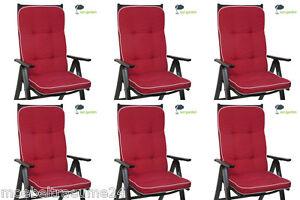 6 x auflagen f r hochlehner sessel gartenstuhl kissen polster sitzkissen in rot ebay. Black Bedroom Furniture Sets. Home Design Ideas
