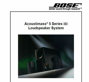 bose acoustimass 5 series iii loudspeaker system service manual book rh ebay co uk bose acoustimass 5 series ii service manual Bose Acoustimass 5 Series 111