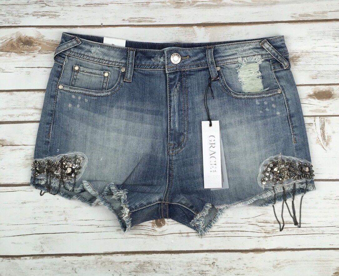 Womens Grace In LA Low Rise Cut Off Embellished Beaded Hem Jean Denim Shorts 29
