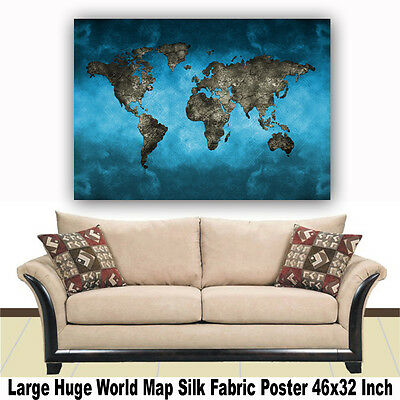 "World Map Watercolor Style Printing Art Home Decor Thin Silk Poster 46/"" x 32/"""