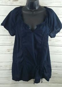 Converse-Blue-Boho-Phesant-Blouse-Short-Sleeved-Women-039-s-Size-Medium