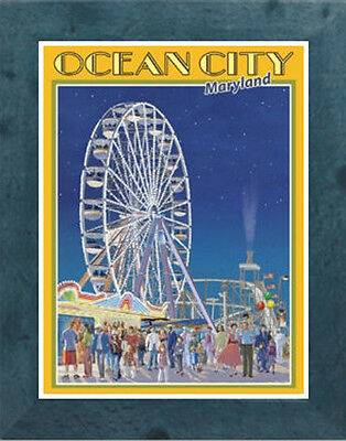 Vintage Art Deco Style Travel Poster-by Aurelio Grisanty Ocean City NJ