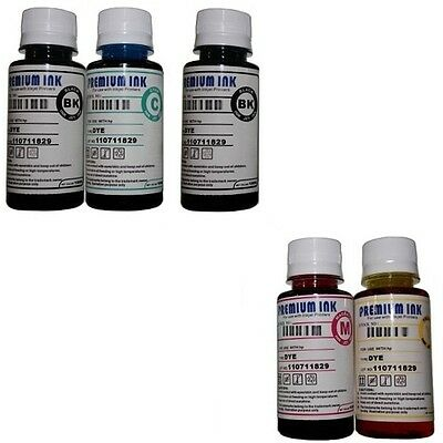 5x100ML DYE INK REFILL BOTTLES FOR CANON PIXMA IP4850 IP4950 IX6250 IX6550 CISS