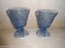 19402 2x Pressglas Becher Art Deco blau pressed glass cup blue Gut Good 15   cm