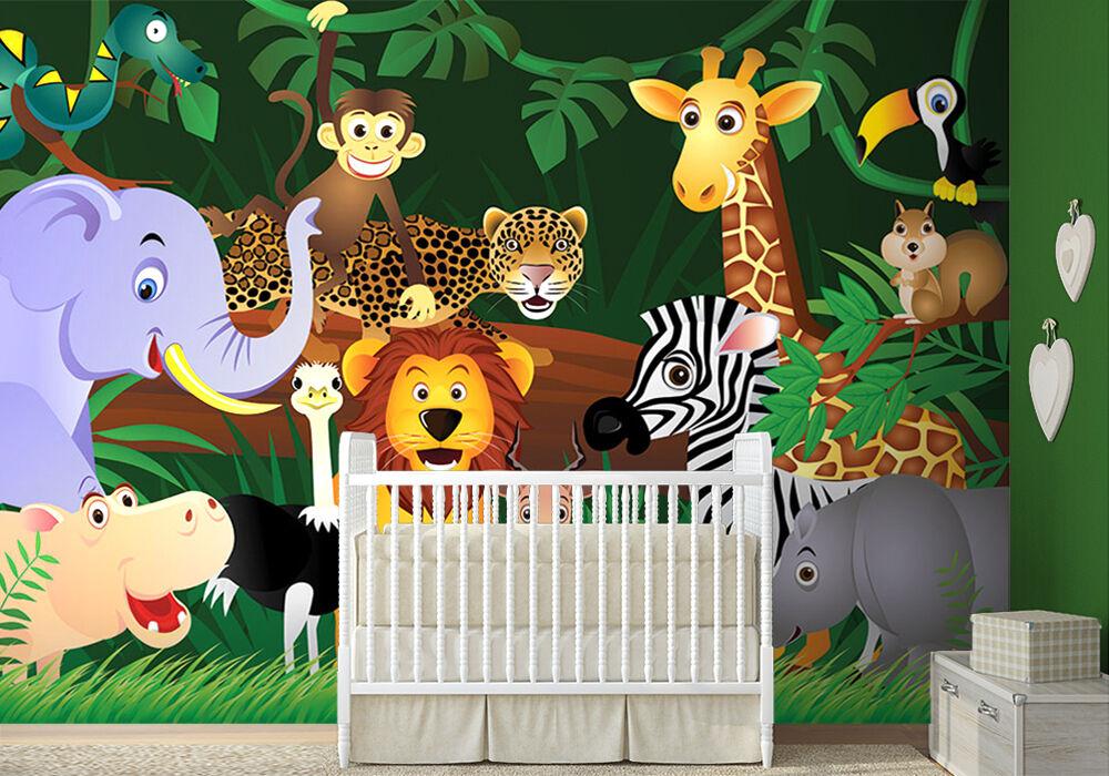 WALLPAPER MURAL PHOTO Animals Jungle WALL DECOR PAPER GIANT POSTER  kids nursery