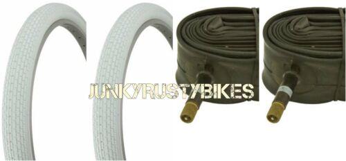 "26x2.125/"" WHITE bike bicycle beach cruiser Small Brick TIRES /& TUBE Schwinn s2"