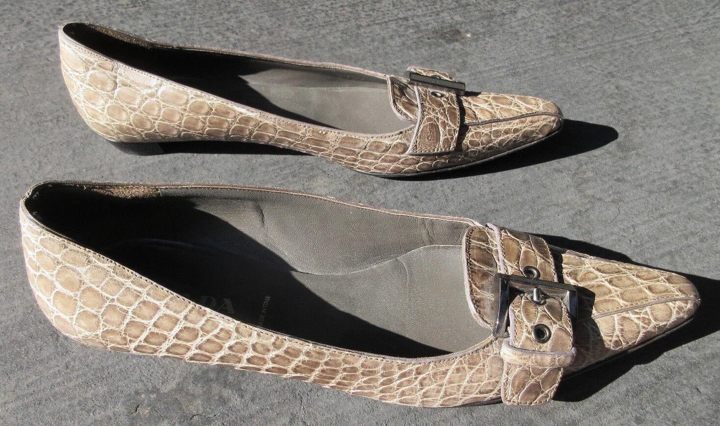 Prada Italia  2950 2950 2950 tan Cocodrilo Hebilla Puntera Puntiaguda plana mujer zapatos talla 37.5  venta caliente