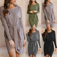 Women Long Sleeve Irregular Linen Shirt  Long Maxi Loose BOHO Bandage Dress