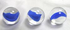 "Vintage Marbles Set of 3 Peltier Banana Catseye Blue 5/8"" Size"