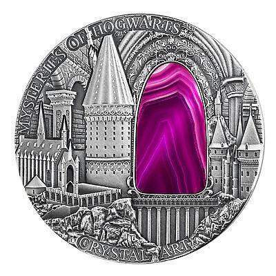 2 $ 2015 Niue Island Crystal Art Iv Mysteries Of Hogwarts Special Buy