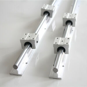 2X SBR12-800mm Linearführung Linearwelle Supported Welle + 4X SBR12UU Block
