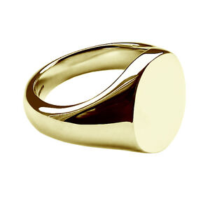 9ct-Solid-Yellow-Gold-Heavy-Oval-Signet-Rings-13x11mm-375-UK-Hallmarked-Bespoke