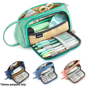 Double-Zip-Large-Capacity-Pen-Pencil-Case-Bag-School-Stationery-Cosmetic-Bag