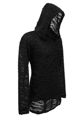 Sanctuaire Gothique délabrée râpé Matrix Noir Burning Man Rave Techno Shirt à capuche