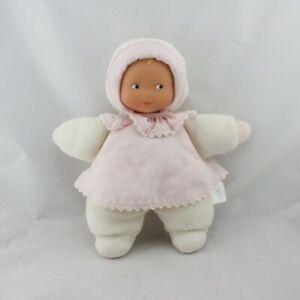 Doudou-poupee-poupon-bebe-blanc-rose-fleurs-COROLLE-Poupee-Lutin-Classique