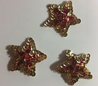 Sequin Gold With Red Star Appliques - 18 Pieces 2