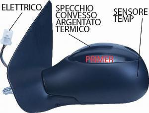 SPECCHIO SPECCHIETTO RETROVISORE PEUGEOT 206 1998-2003 ELETTRICO C//PRIMER DESTRO