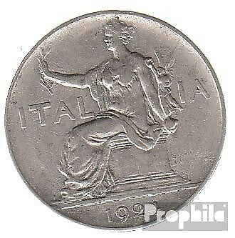 Italy km-number 62 1924 very fine Nickel very fine 1924 1 lira sedentary Woma