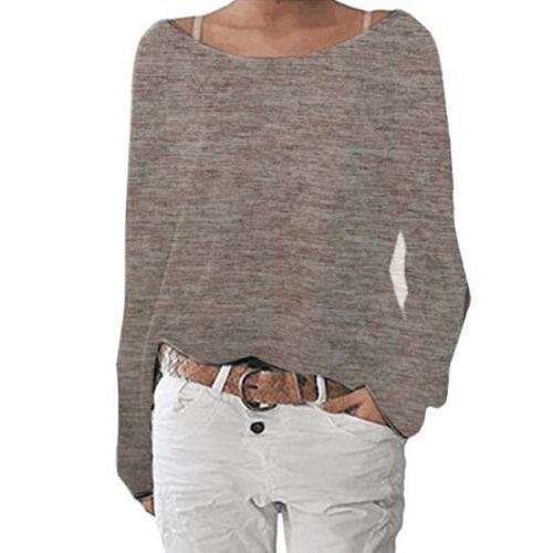 Damen Langarm T-Shirt Blusen Hemd Rundhals Langarmshirt Tops Tunika Oberteil