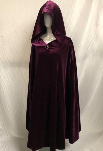 Long Velvet Hooded Cape Cloak Black Blue Burgundy Pink Red Mauve One Size